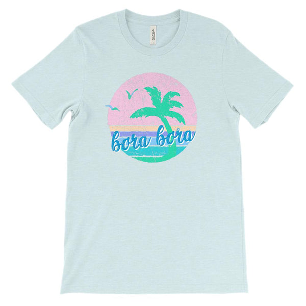 (Soft Unisex BC 3001 Lights) Iconic World Destinations (Bora Bora) Graphic T-Shirt Tee BOXELS