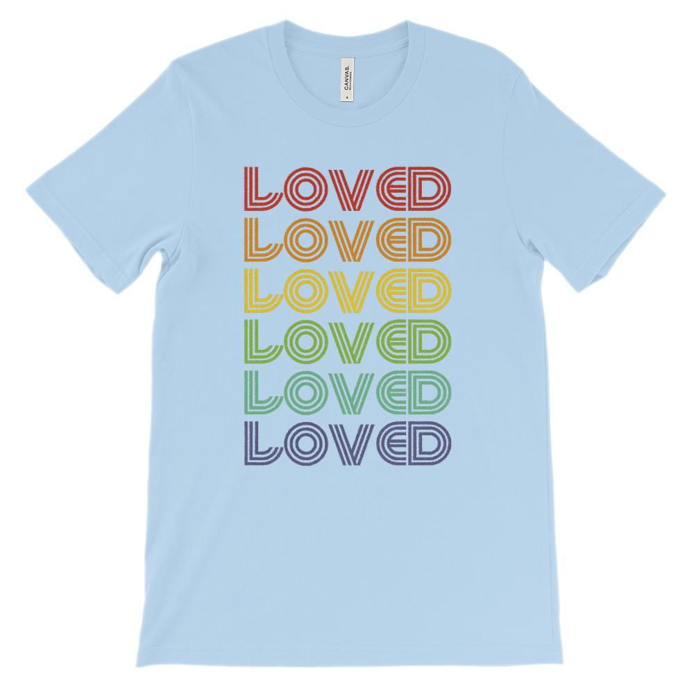 (Soft Unisex BC 3001 - Lights) Loved Rainbow Retro Stylized Font Graphic T-Shirt Tee BOXELS