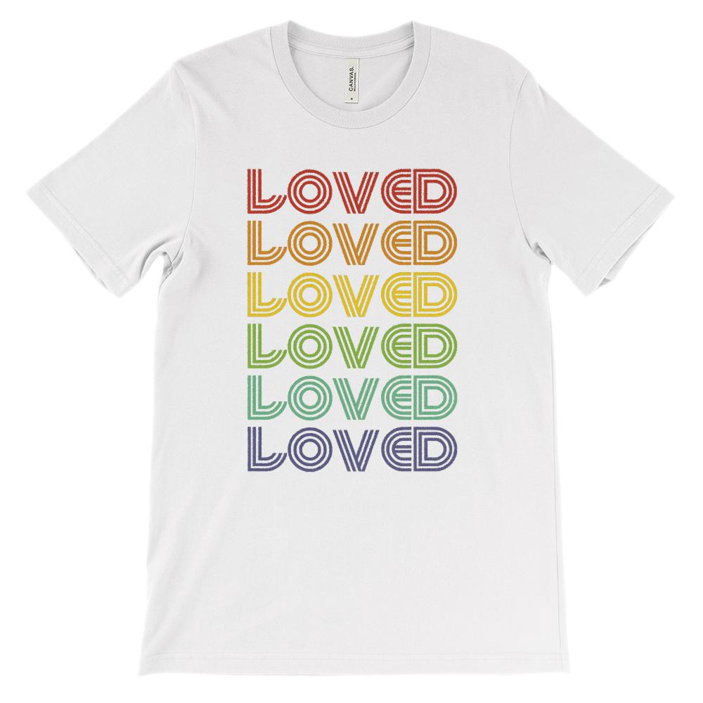 (Soft Unisex BC 3001 - Lights) Loved Rainbow Retro Stylized Font
