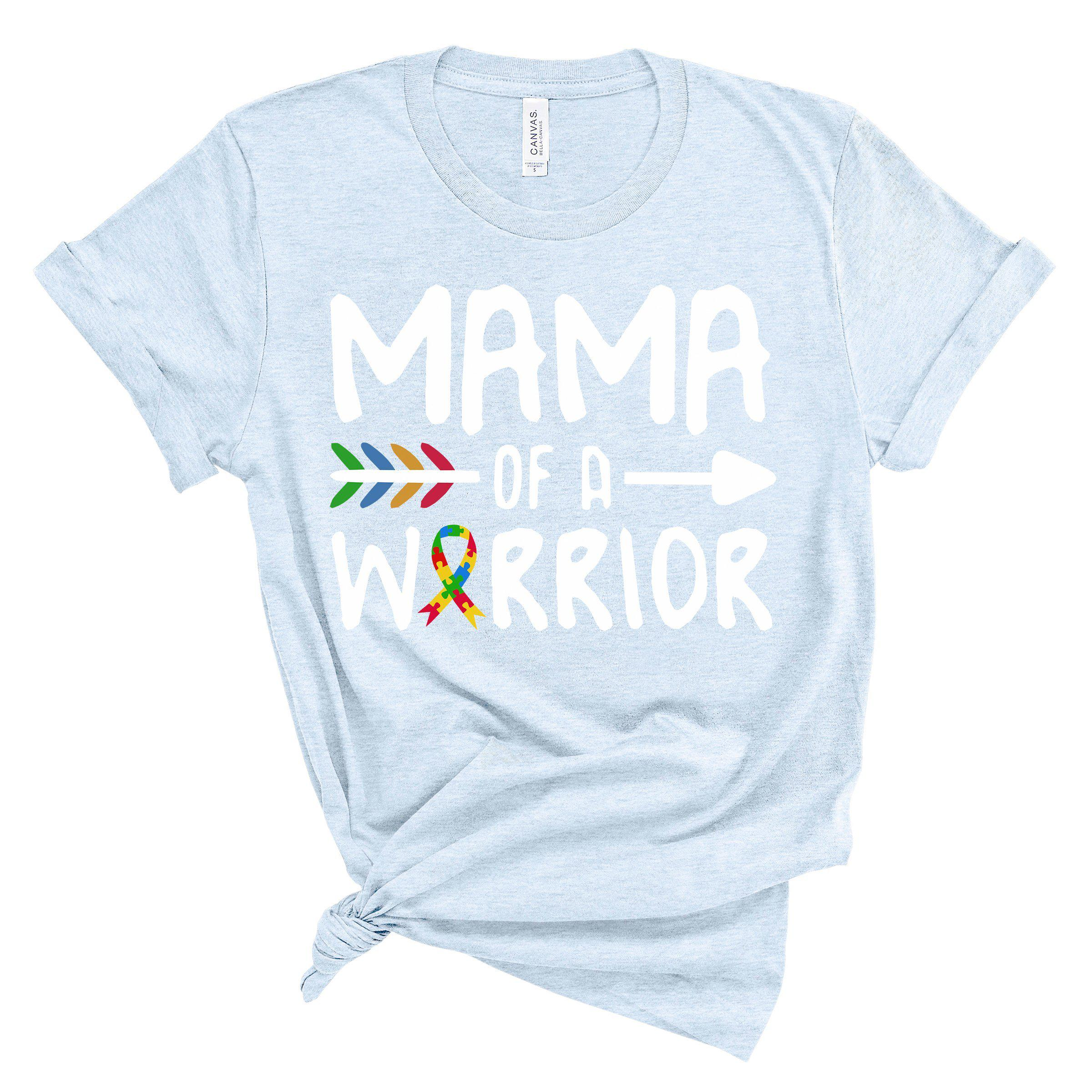 (Soft Unisex BC 3001) Mama of a Warrior (Autism Awareness) White Graphic T-Shirt Tee BOXELS