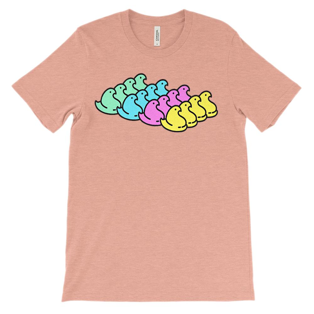 (Soft Unisex BC 3001) Marshmallow Chicks Rainbow (no grunge) Graphic T-Shirt Tee BOXELS