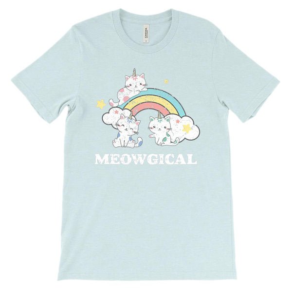 (Soft Unisex BC 3001) Meowgical Rainbow Unikittens Unicorn Cats Kittens Graphic T-Shirt Tee BOXELS