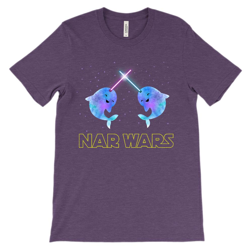 (Soft Unisex BC 3001) Nar Wars Cute Narwhals Space Parody Graphic T-Shirt Tee BOXELS