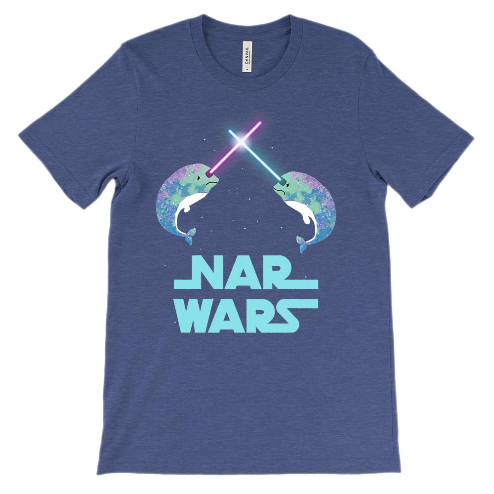 (Soft Unisex BC 3001) Nar Wars Narwhal Space Parody Graphic T-Shirt Tee BOXELS