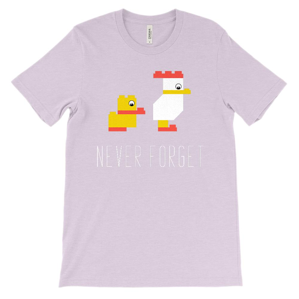 (Soft Unisex BC 3001) Never Forget Building Bricks Duck Chicken Graphic T-Shirt Tee BOXELS