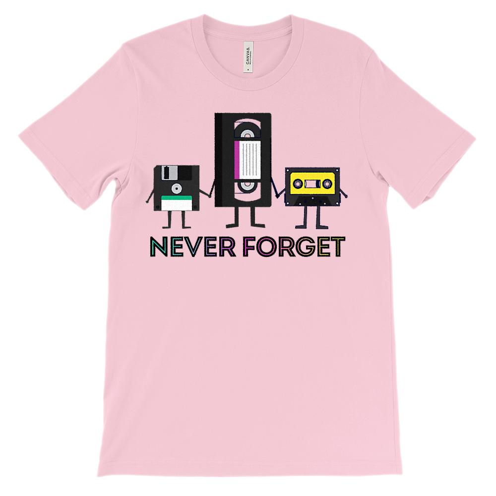 (Soft Unisex BC 3001) Never Forget VHS TAPE FLOPPY Nostalgia Graphic T-Shirt Tee BOXELS