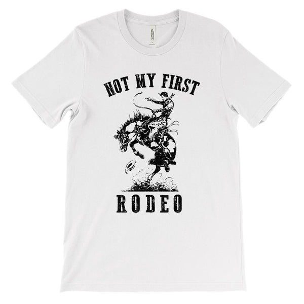 (Soft Unisex BC 3001) Not My First Rodeo Cowboy Graphic T-Shirt Tee BOXELS