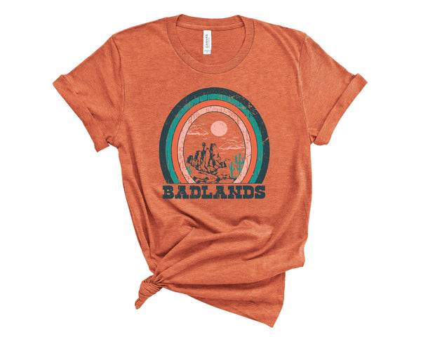 (Soft Unisex BC 3001 Oranges) Iconic World Destinations (Badlands) Graphic T-Shirt Tee BOXELS