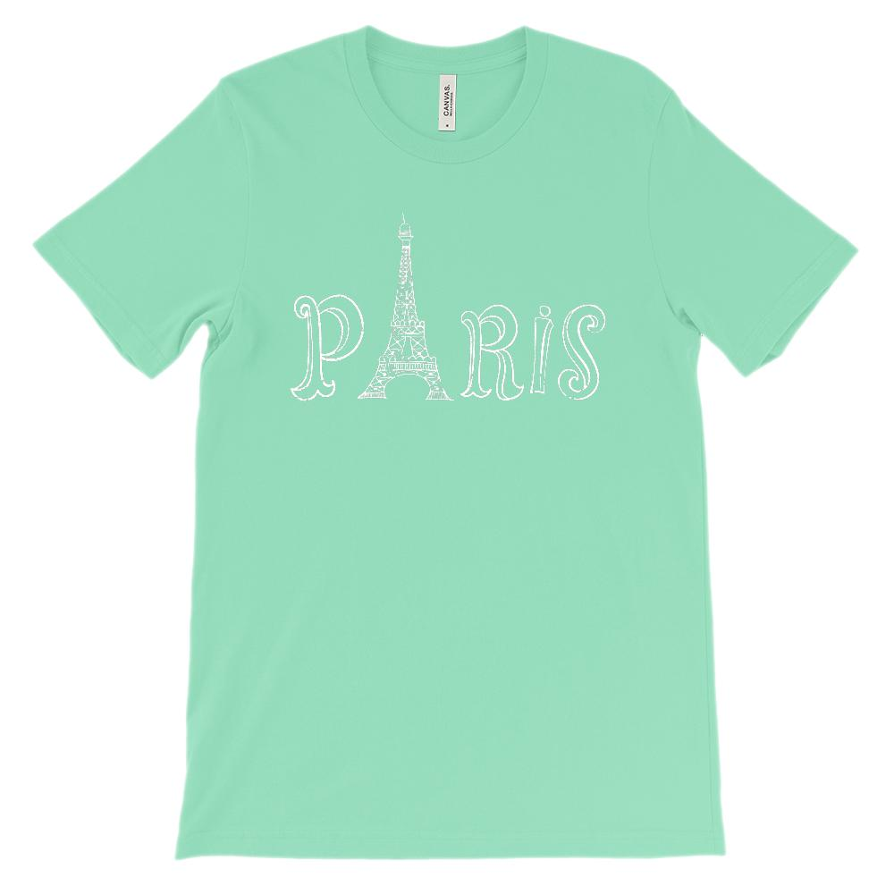 (Soft Unisex BC 3001) Paris Line Art (white) Graphic T-Shirt Tee BOXELS