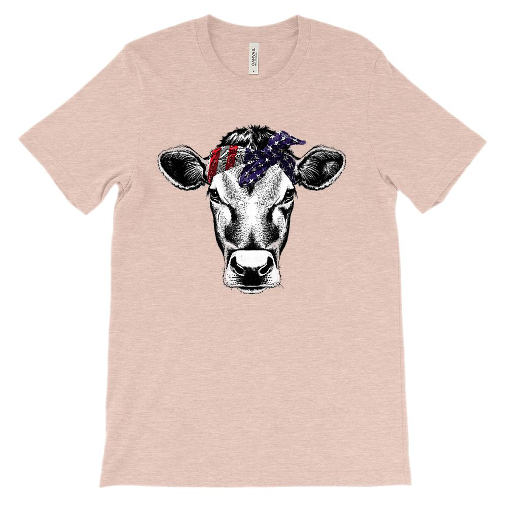 (Soft Unisex BC 3001) Patriotic Cow Bandana (white underbase face) Graphic T-Shirt Tee BOXELS
