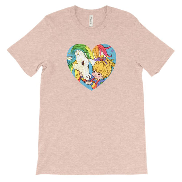 (Soft Unisex BC 3001 Peaches) Vintage Valentine 80s (Rainbow Horse Girl) Graphic T-Shirt Tee BOXELS