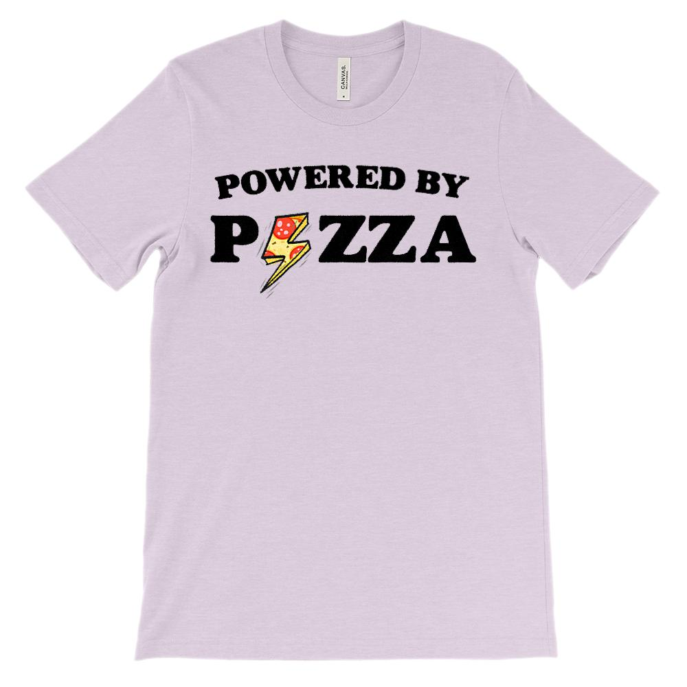 (Soft Unisex BC 3001) Powered By Pizza Graphic T-Shirt Tee BOXELS