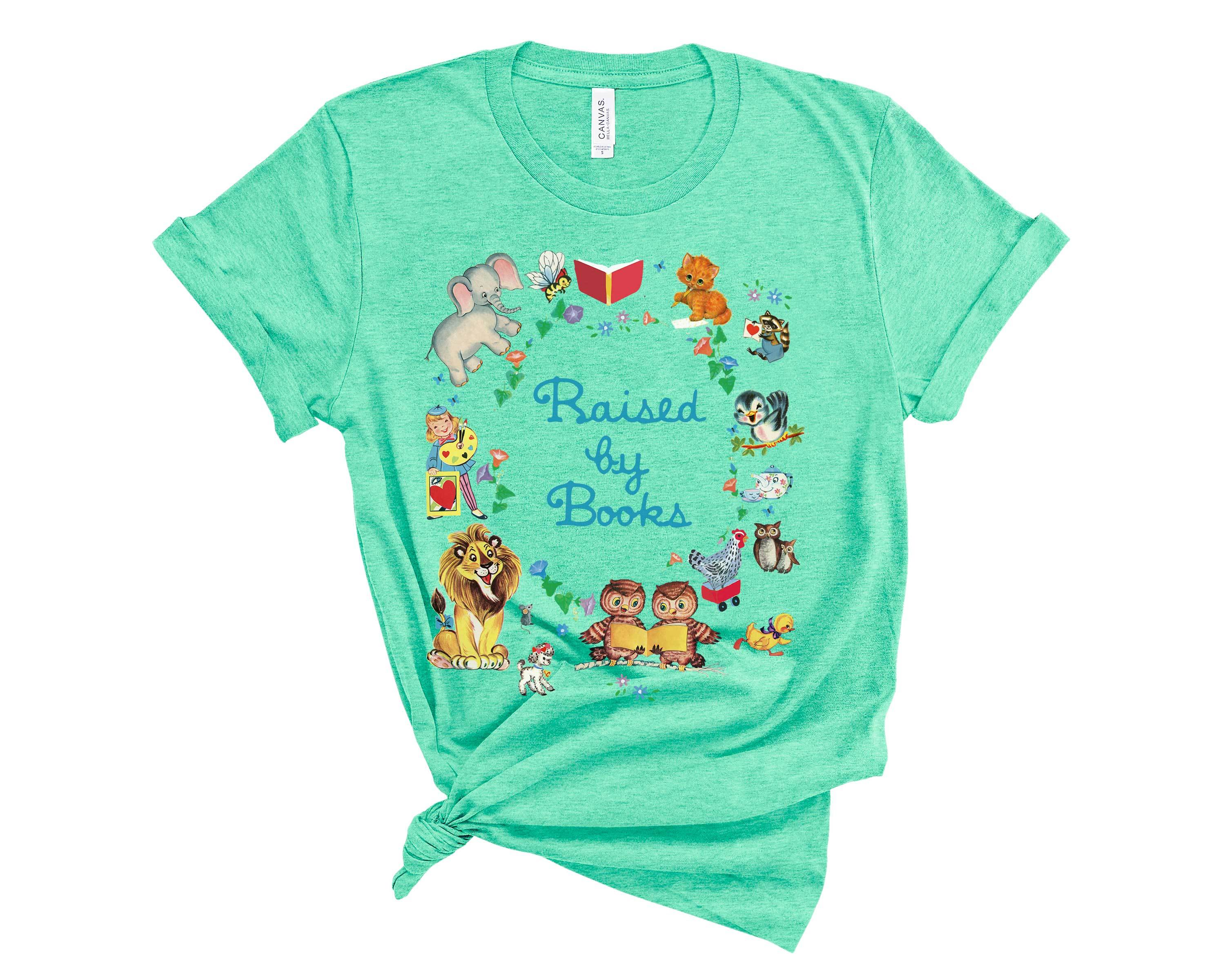(Soft Unisex BC 3001) Raised by Books Retro Characters Graphic T-Shirt Tee BOXELS