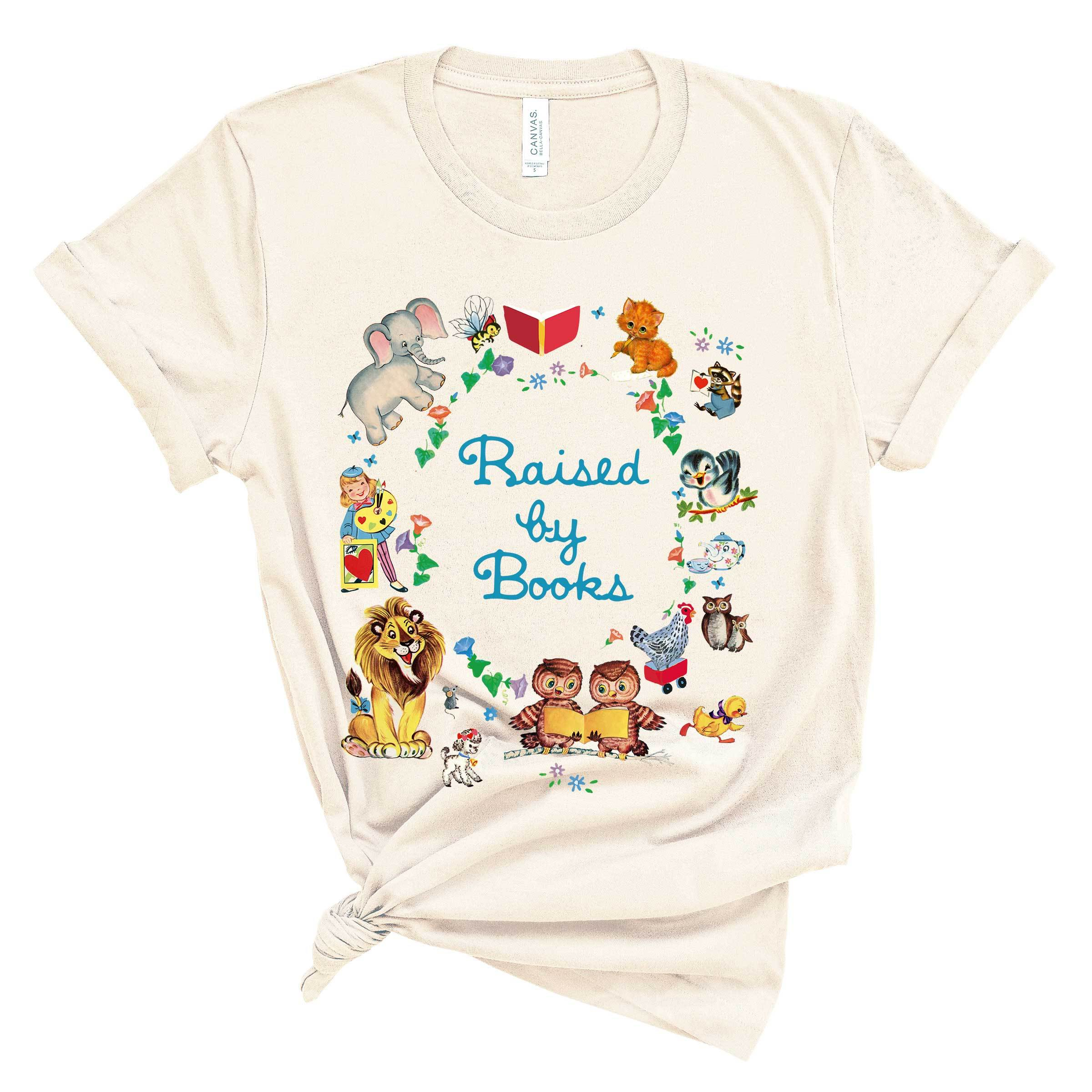 (Soft Unisex BC 3001) Raised by Books Retro Characters