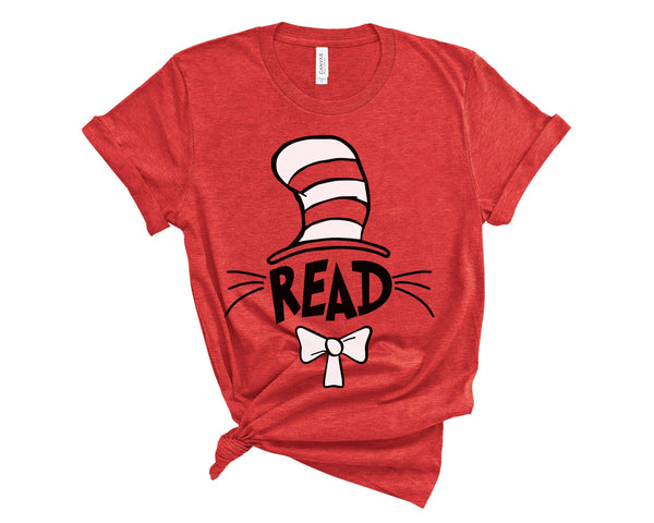 (Soft Unisex BC 3001) Read Hat Parody Cat Teacher Reading Graphic T-Shirt Tee BOXELS