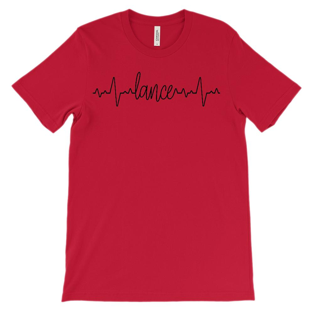 (Soft Unisex BC 3001 - Red) Custom Heartbeat Pulse (Lance Black)