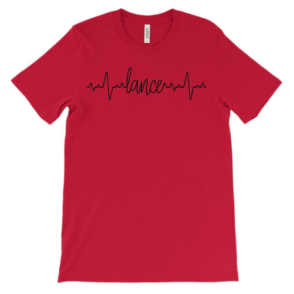 (Soft Unisex BC 3001 - Red) Custom Heartbeat Pulse (Lance Black) Graphic T-Shirt Tee BOXELS