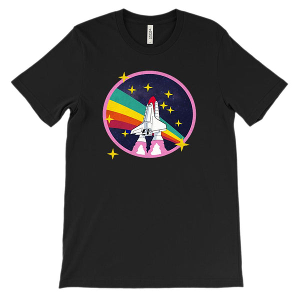 (Soft Unisex BC 3001) Retro Rocket Space Ship Rainbow Graphic T-Shirt Tee BOXELS