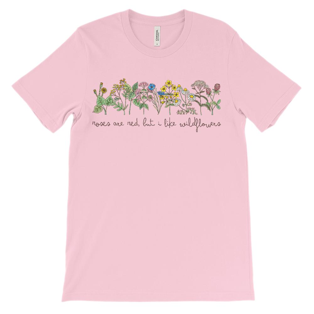 (Soft Unisex BC 3001) Roses are Red, But I Like Wildflowers Graphic T-Shirt Tee BOXELS