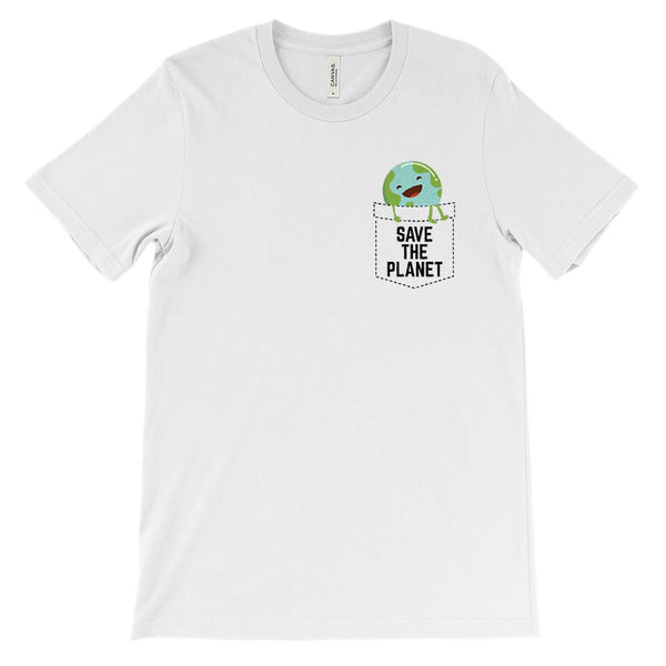 (Soft Unisex BC 3001) Save the Earth Fake Pocket Graphic T-Shirt Tee BOXELS