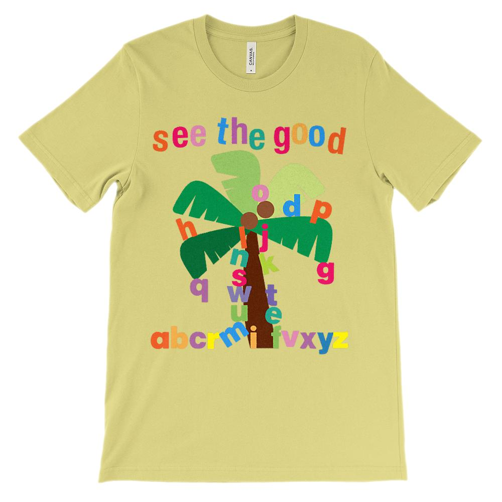 (Soft Unisex BC 3001) See The Good Palm Tree Letters Boom Boom Graphic T-Shirt Tee BOXELS
