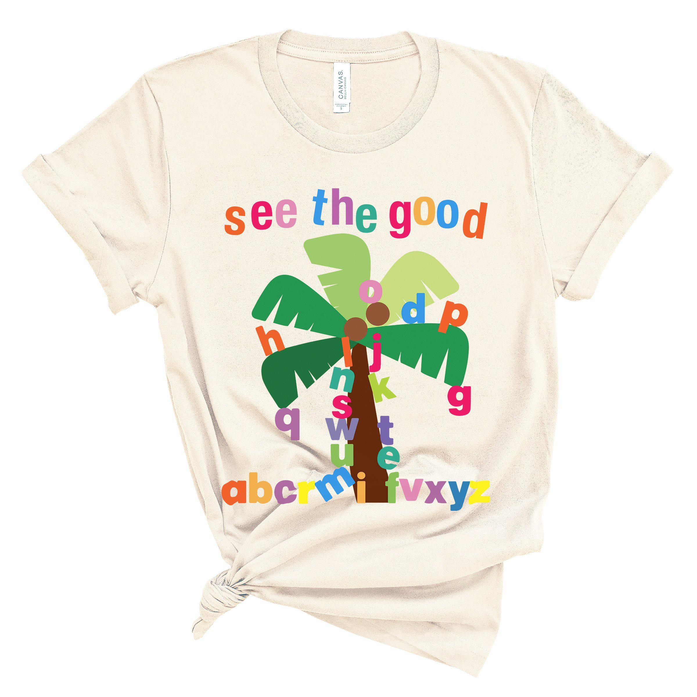 (Soft Unisex BC 3001) See The Good Palm Tree Letters Boom Boom