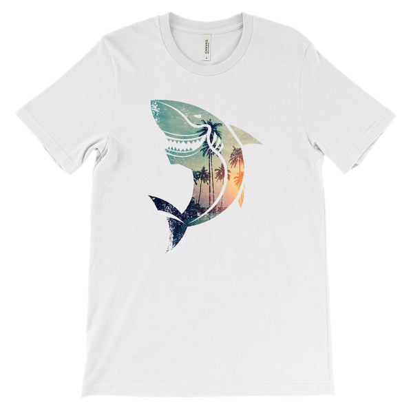 (Soft Unisex BC 3001) Shark Beach Shape Graphic T-Shirt Tee BOXELS