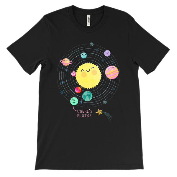 (Soft Unisex BC 3001) Solar System Where's Pluto Graphic T-Shirt Tee BOXELS
