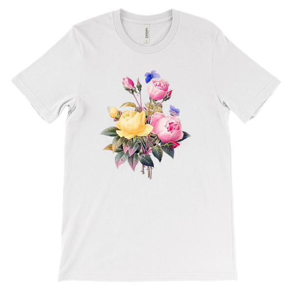 (Soft Unisex BC 3001) Spring Floral Vintage (Butterfly Roses) Graphic T-Shirt Tee BOXELS