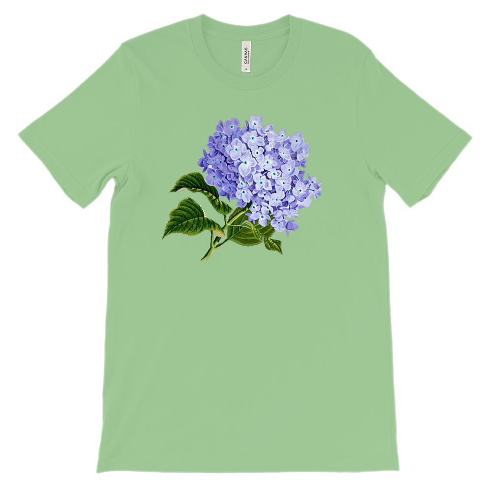 (Soft Unisex BC 3001) Spring Floral Vintage (Hydrangea) Graphic T-Shirt Tee BOXELS