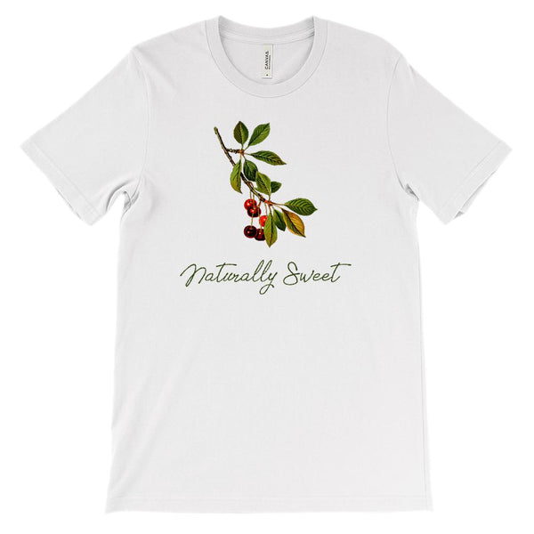(Soft Unisex BC 3001) Spring Floral Vintage (Naturally Sweet Cherries) Graphic T-Shirt Tee BOXELS