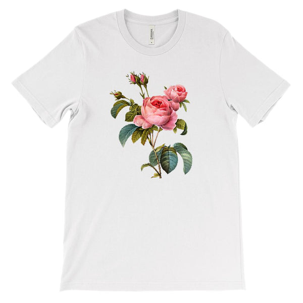 (Soft Unisex BC 3001) Spring Floral Vintage Pink Roses Graphic T-Shirt Tee BOXELS