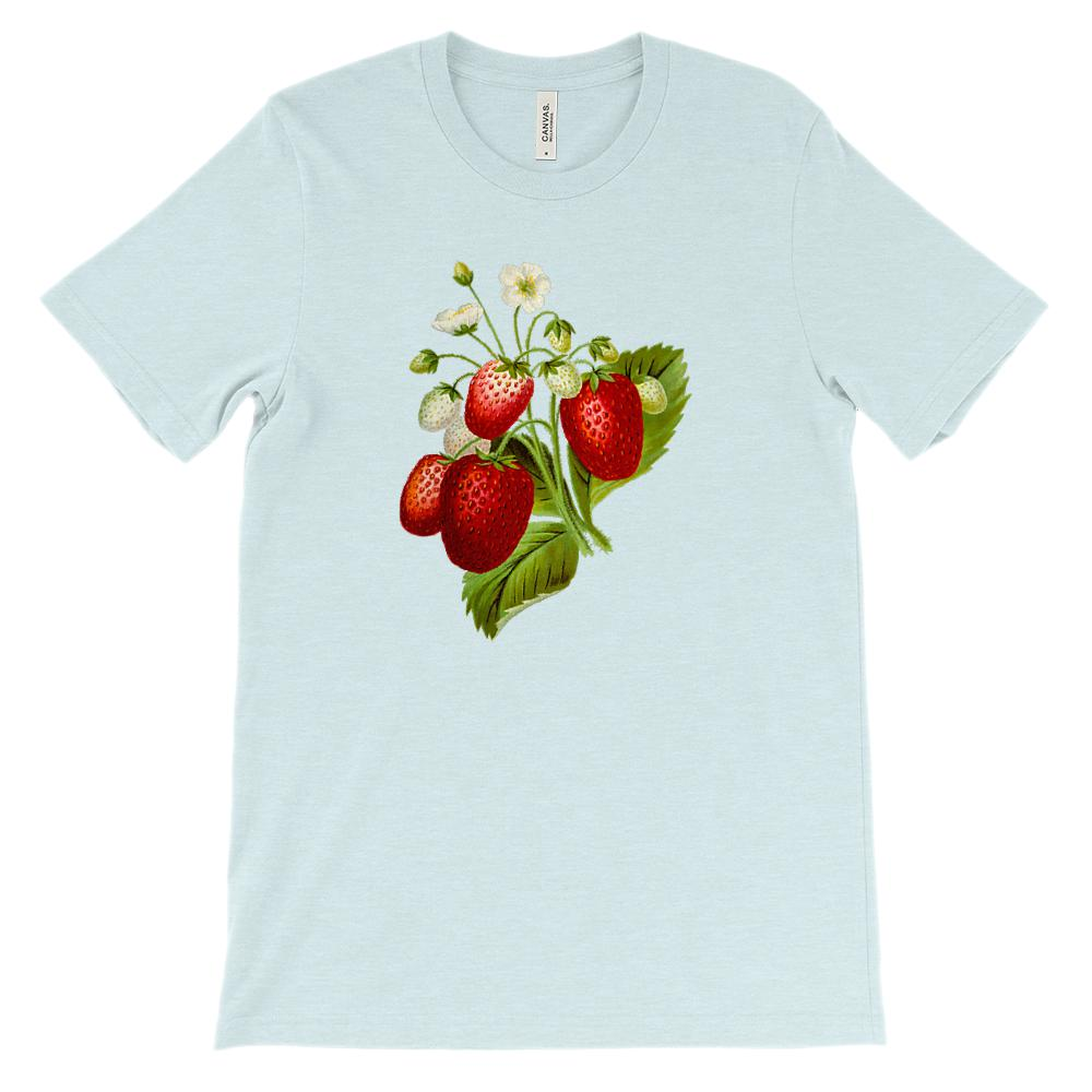 (Soft Unisex BC 3001) Spring Floral Vintage (Strawberries) Graphic T-Shirt Tee BOXELS