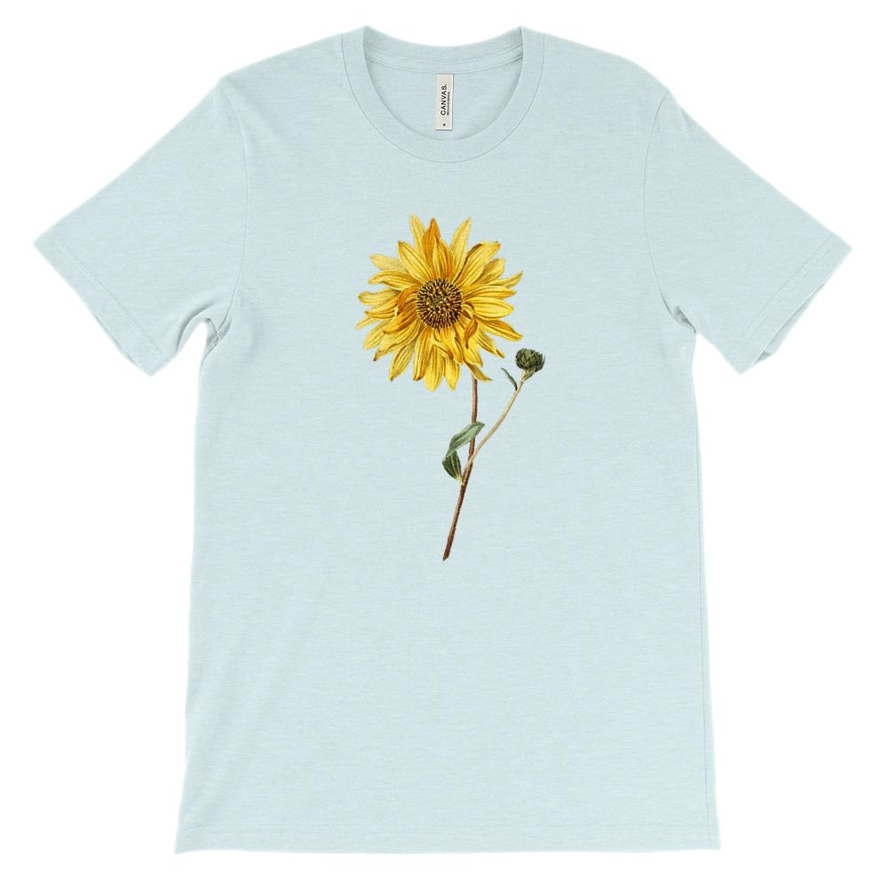 (Soft Unisex BC 3001) Spring Floral Vintage (Yellow Sunflower) Graphic T-Shirt Tee BOXELS