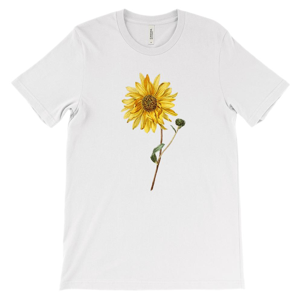 (Soft Unisex BC 3001) Spring Floral Vintage (Yellow Sunflower)