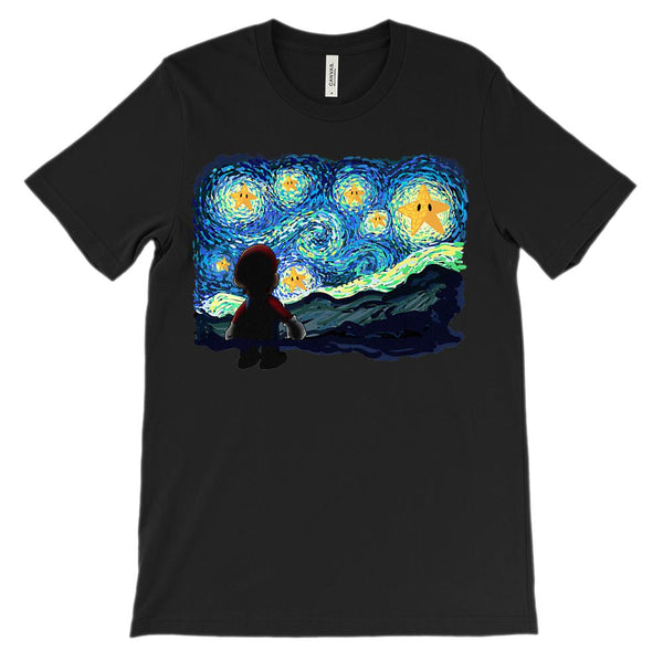 (Soft Unisex BC 3001) Starry Night Gamer Vincent Van Gogh Parody Graphic T-Shirt Tee BOXELS
