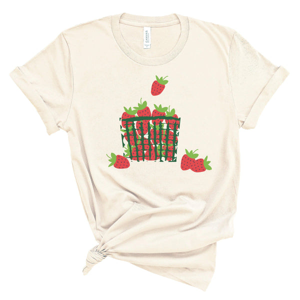 (Soft Unisex BC 3001) Strawberries Basket Graphic T-Shirt Tee BOXELS