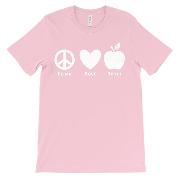 (Soft Unisex BC 3001) Teach Love Peace Graphic T-Shirt Tee BOXELS