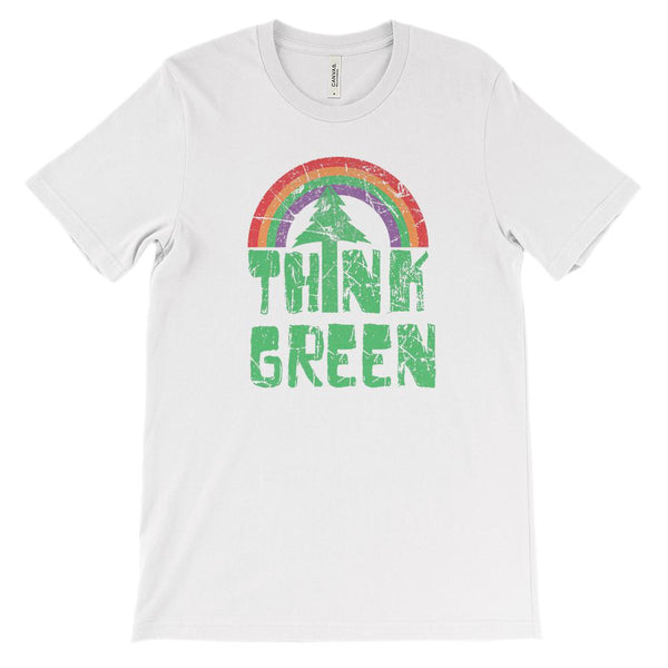 (Soft Unisex BC 3001) Think Green Retro Grunge Rainbow Graphic T-Shirt Tee BOXELS