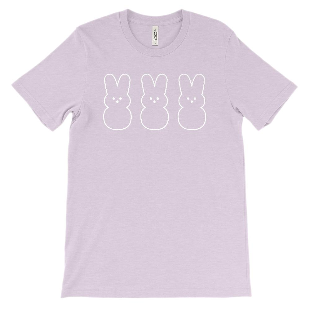 (Soft Unisex BC 3001) Three Marshmallow Bunnies (white) Graphic T-Shirt Tee BOXELS
