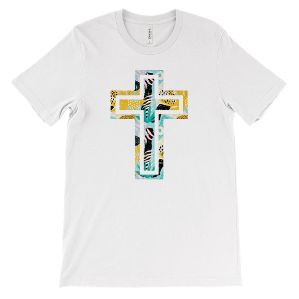 (Soft Unisex BC 3001) Tropical Cross Graphic T-Shirt Tee BOXELS