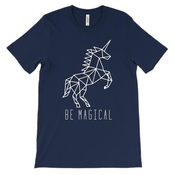 (Soft Unisex BC 3001) Unicorn Be Magical (white) Graphic T-Shirt Tee BOXELS