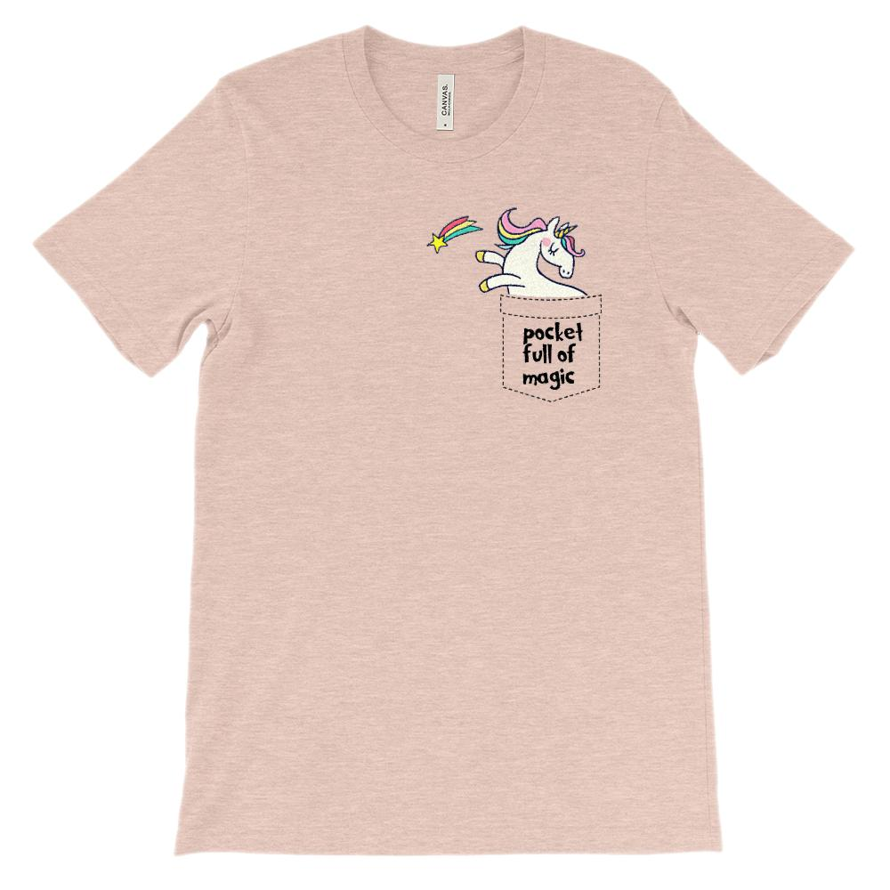(Soft Unisex BC 3001) Unicorn Fake Pocket full of magic Graphic T-Shirt Tee BOXELS