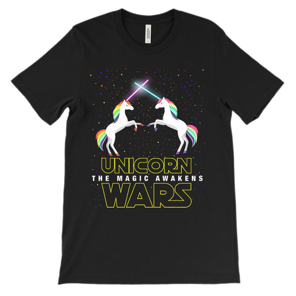 (Soft Unisex BC 3001) Unicorn Wars, The Magica Awakens Parody Graphic T-Shirt Tee BOXELS