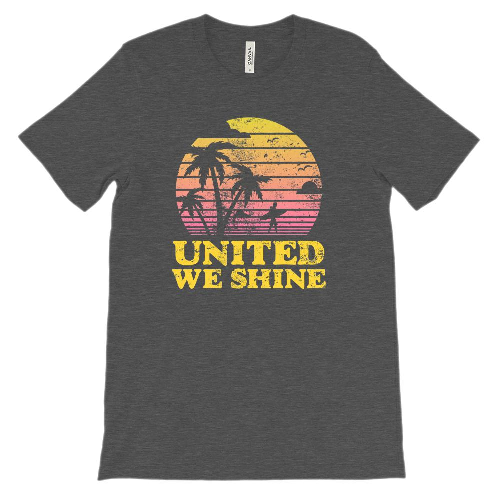 (Soft Unisex BC 3001) United We Shine Patriotic Beach Sunset Graphic T-Shirt Tee BOXELS