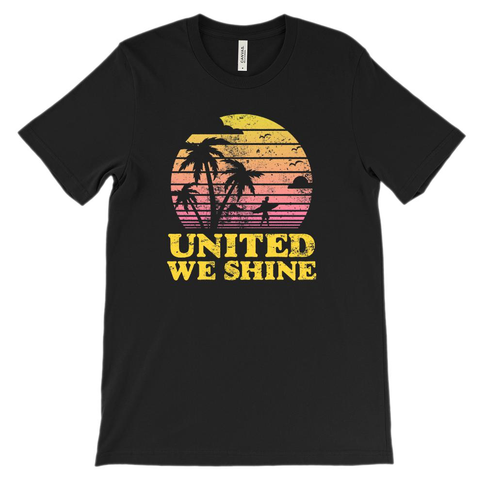 (Soft Unisex BC 3001) United We Shine Patriotic Beach Sunset