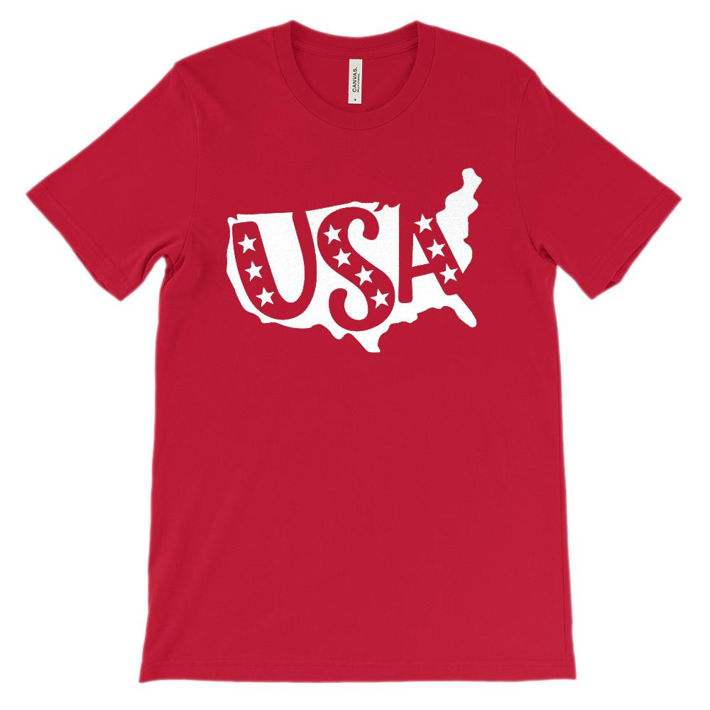 (Soft Unisex BC 3001) USA Continent Map Patriotic (White) Graphic T-Shirt Tee BOXELS