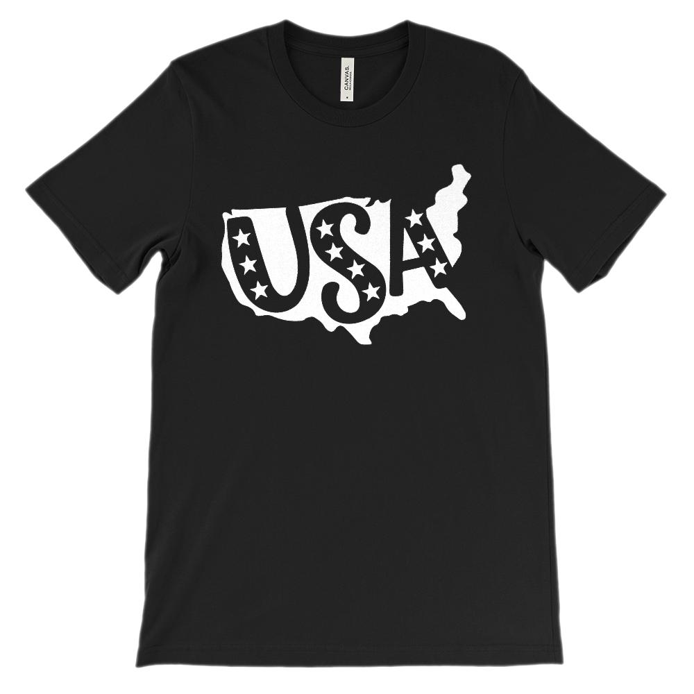 (Soft Unisex BC 3001) USA Continent Map Patriotic (White)