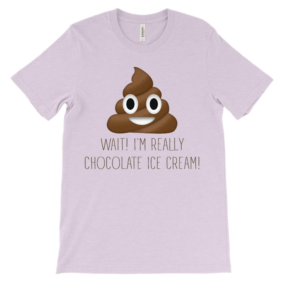 (Soft Unisex BC 3001) Wait! I'm Really Chocolate Ice Cream Graphic T-Shirt Tee BOXELS