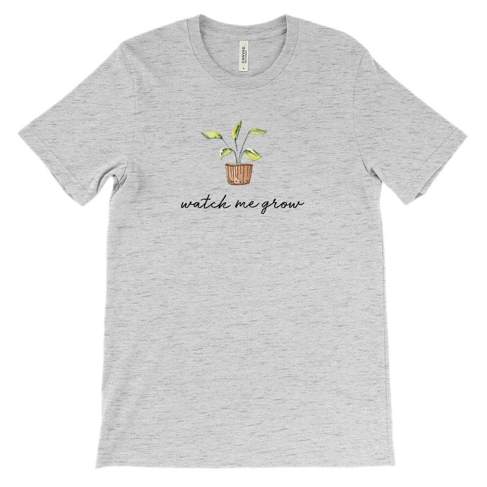 (Soft Unisex BC 3001) Watch Me Grow Plant Graphic T-Shirt Tee BOXELS